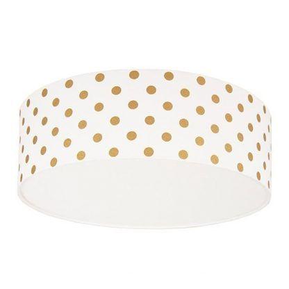 lampa sufitowa biała w złote groszki - okrągły plafon