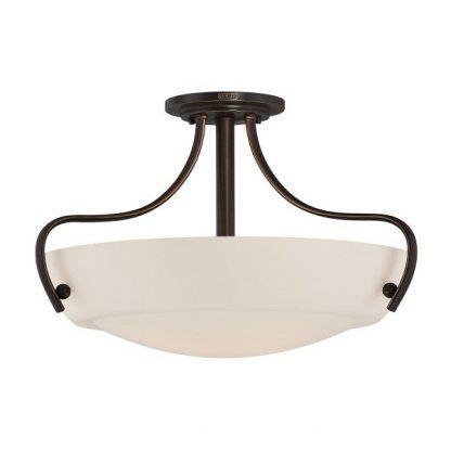 lampa sufitowa biała z kloszem - kute ramiona brązowe