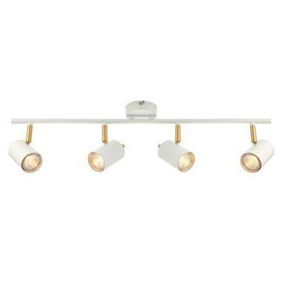 lampa sufitowa biało złota z reflektorkami do salonu
