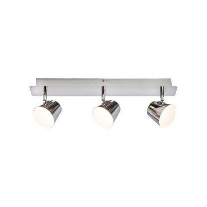 lampa sufitowa błyszcząca srebrna z 3 reflektorkami