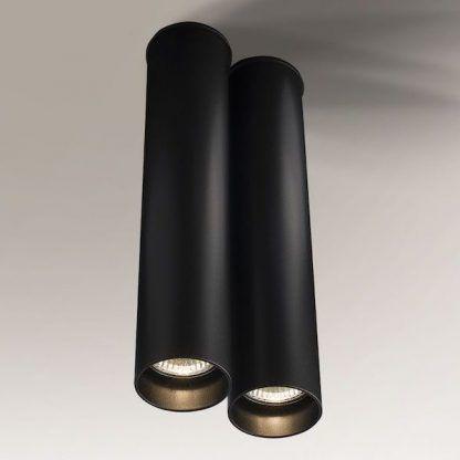 lampa sufitowa czarna długa tuba do salonu