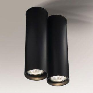 lampa sufitowa dwie czarne tuby nowoczesna
