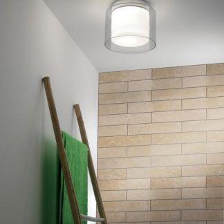 lampa sufitowa łazienkowa ze szklanym kloszem - okragła
