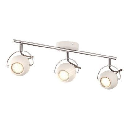 lampa sufitowa na szynie - 3 reflektory nowoczesne - białe kule