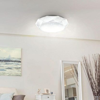 Lampa sufitowa na tle białego sufitu w salonie