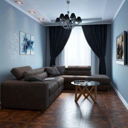 Lampa sufitowa niebieskie ściany ciemne zasłony