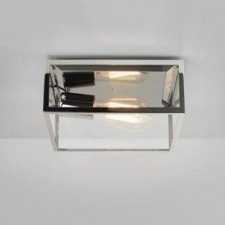 lampa sufitowa szklana w srebrnej oprawie chrom