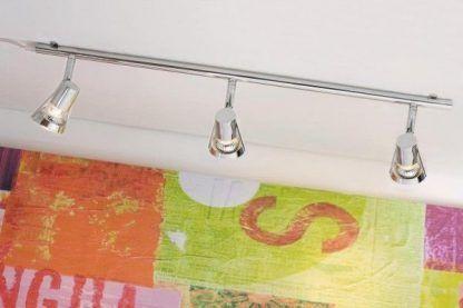 lampa sufitowa szynowa srebrna z reflektorami