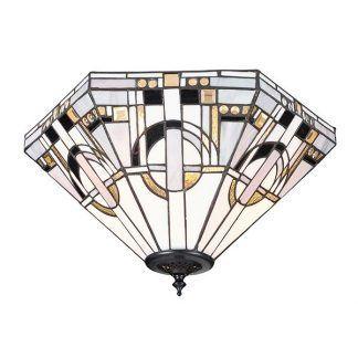 Lampa sufitowa witrażowa we wzory geometryczne