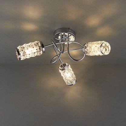 lampa sufitowa z 3 kloszami kryształowymi do salonu