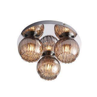 lampa sufitowa z ciemnym szkłem i 3 kloszami na żarówki