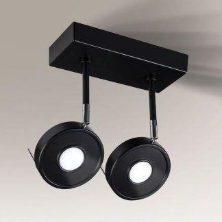 lampa sufitowa z czarnymi okrągłymi reflektorami
