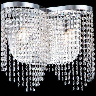 lampa sufitowa z kryształkami srebrnymi - glamour w salonie