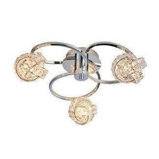 lampa sufitowa z kryształowymi kloszami chrom