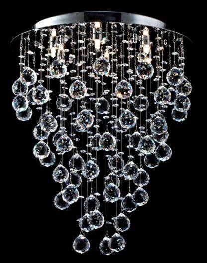 lampa sufitowa z kulami szklanymi - srebrna okrągła oprawa