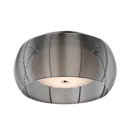 Lampa sufitowa ze srebrnych drucików i szklanym kloszem