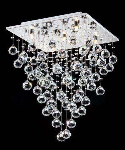 Lampa sufitowa ze zwisającymi kryształowymi kulkami