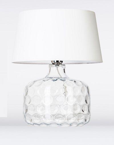 lampa szklana na stół z białym kloszem nowoczesna
