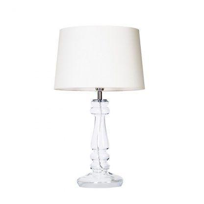lampa szklana stołowa z białym abażurem - nowoczesna