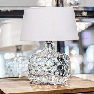 lampa szklana stołowa z białym abażurem - piękna