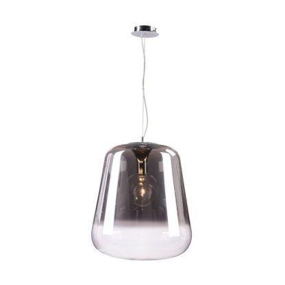 lampa szklana wisząca na stalowej lince - szaro bezbarwna