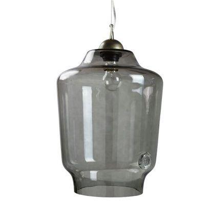 lampa szklana wiszaca - szare szkło wiszące na lince