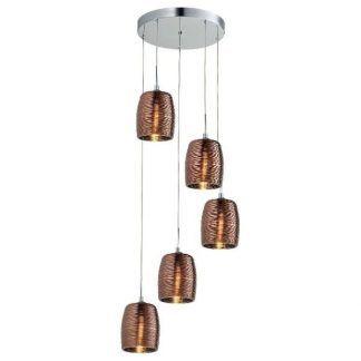 lampa szklana z miedzianymi kloszami okragła - 5 żarówek