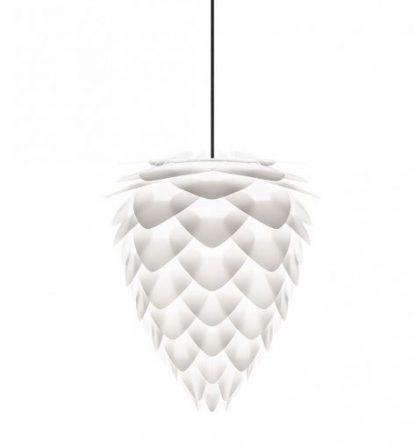 lampa w kształcie szyszki w białym kolorze