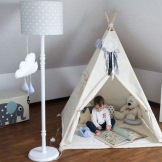 Lampa w pokoju dziecięcym szara w białe grochy