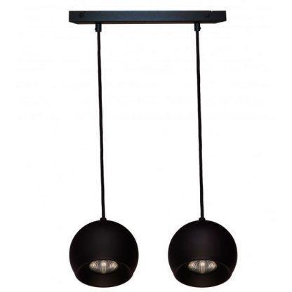 lampa wisząca 2 czarne kule na czarnej szynie