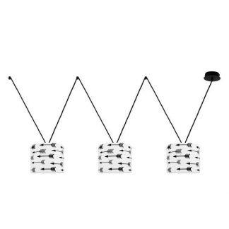 lampa wisząca 3 abażury w strzałki skandynawski styl