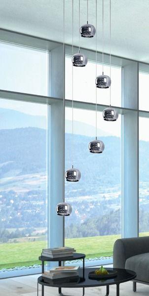lampa wisząca - 7 kul srebrnych szklanych do salonu