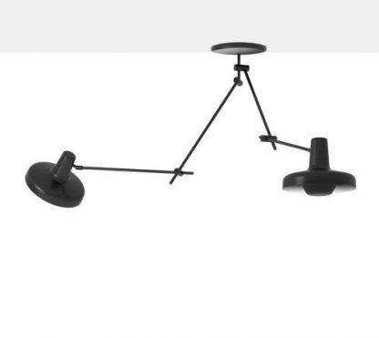 podwójna lampa sufitowa z ramieniem i regulacją - czarna