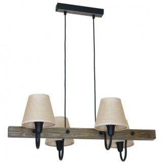 lampa wisząca beżowe klosze surowe drewno