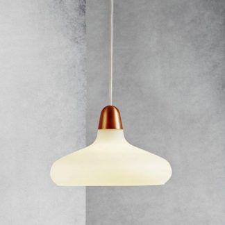 lampa wisząca biała do szarej ściany
