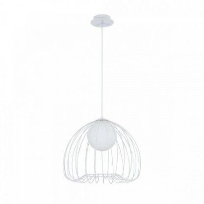lampa wisząca biała - druciana podstawa