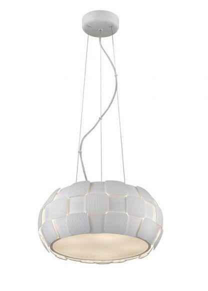lampa wisząca biała na linkach - okragła
