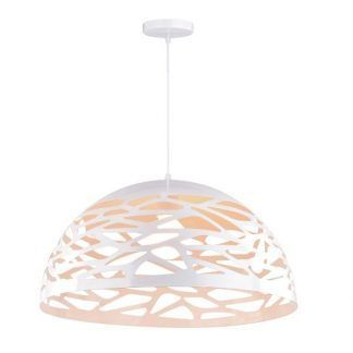 lampa wisząca biała półkula ażurowy wzór