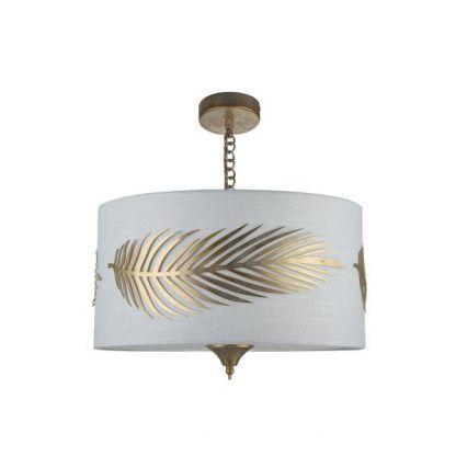 Lampa wisząca białym ozdobionym abażurem