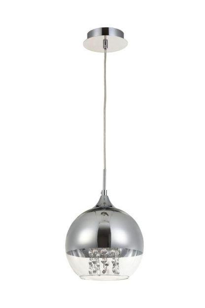 lampa wisząca chrom szklany klosz z kryształkami