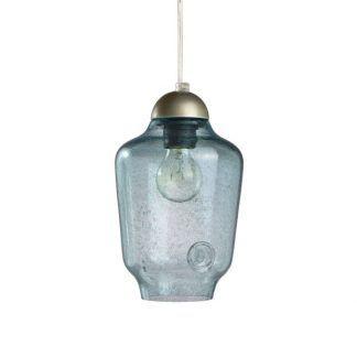 niebieska szklana lampa wisząca