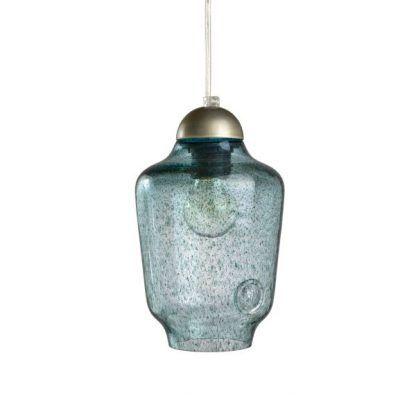 lampa wisząca z niebieskiego szkła