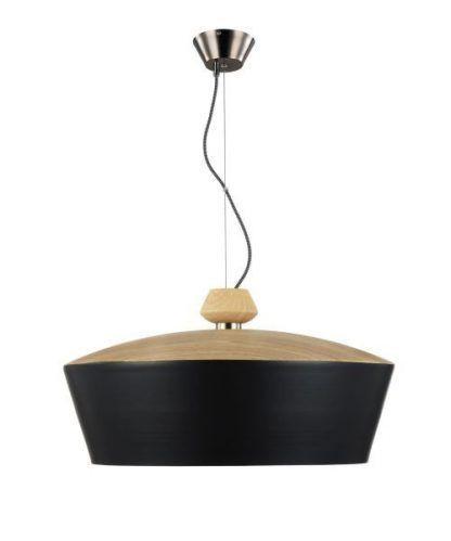 lampa wisząca czarna z drewnianą kopułą na kloszu