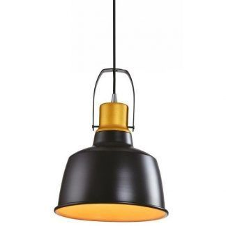 lampa wisząca czarna z miedzianym wykończeniem do jadalni