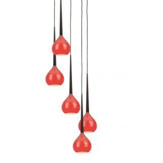 lampa wisząca do salonu z czerwonymi kloszami w kule