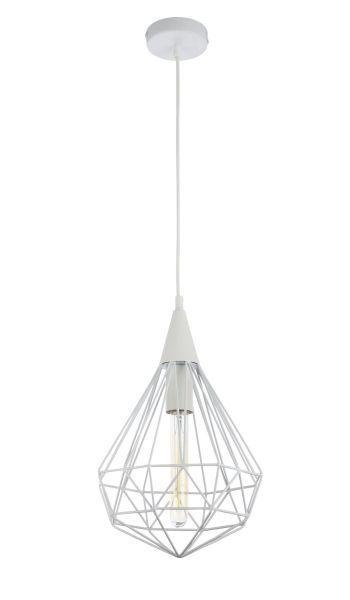 lampa wisząca druciany diament biała