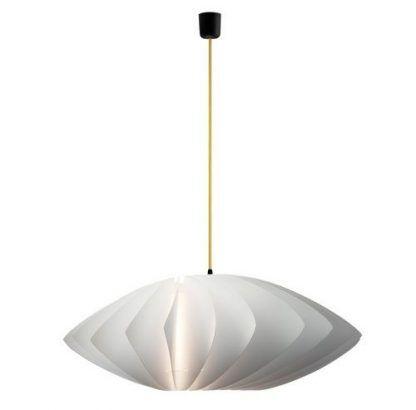 lampa wisząca jakby z papieru z żółtym kablem