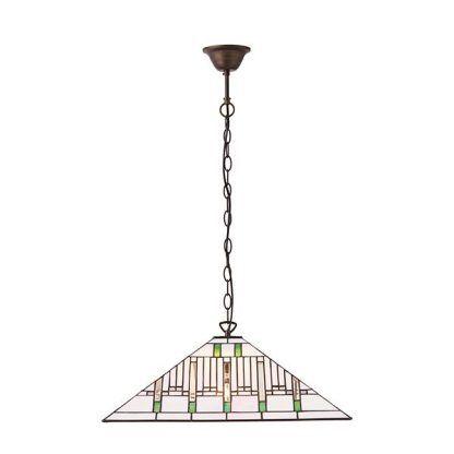 Lampa wisząca jasna witrażowa z trójkątnym kloszem