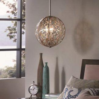 lampa wisząca jasnobrązowa z wzorami z metalu