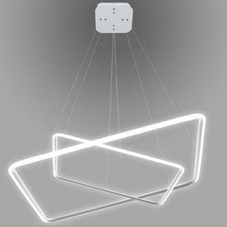 lampa wisząca led białe kwadraty do salonu